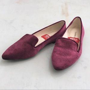 NWT Gianni bini burgundy velvet loafers